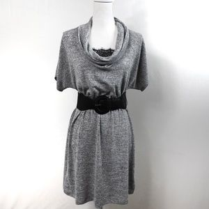 T604 A. Byer Belted Sweater Dress Gray Cowl Neck M
